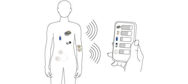 This paper presents the concept of using a specifically designed RFID tag helix antenna as the sensing agent to wirelessly monitor the drug dosage inside a capsule or reservoir. Such a convenient and low cost sensing mechanism can potentially be applied in transdermal or implanted controllable drug delivery.