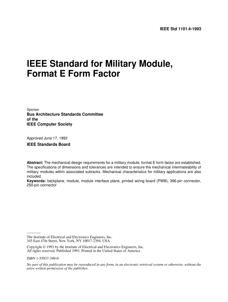 1101.4 1993   IEEE Standard For Military Module, Format E Form Factor.    IEEE Standard