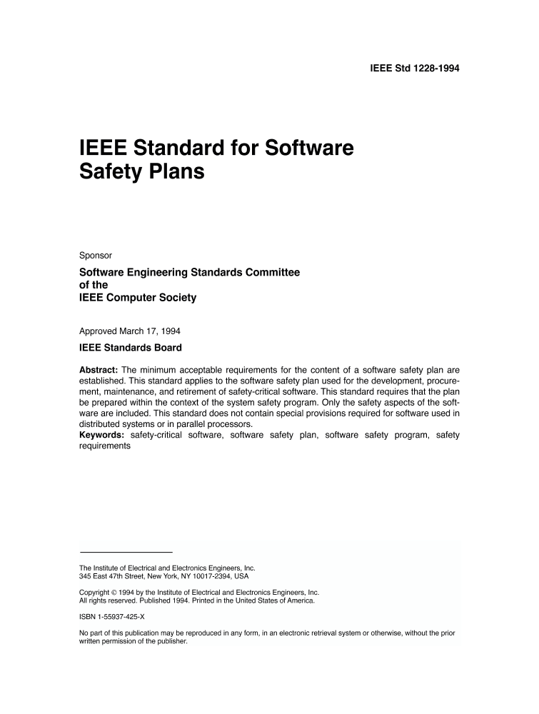 1228 1994 Ieee Standard For Software Safety Plans Ieee Standard