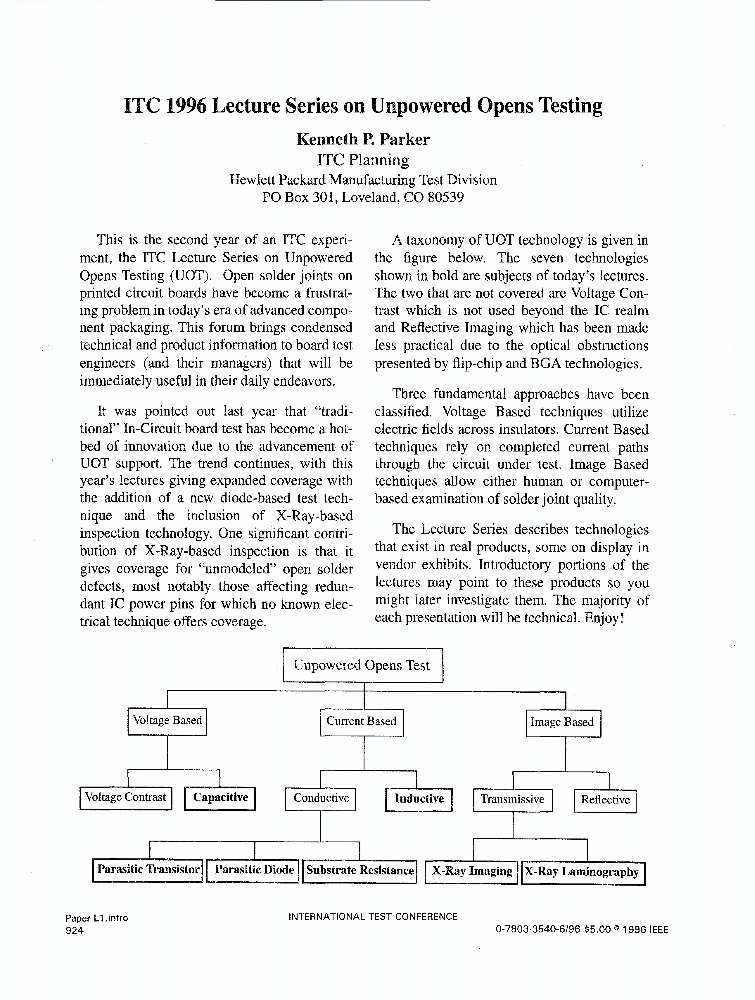 ITC 1996 Lecture Series on Unpowered Opens Testing - IEEE