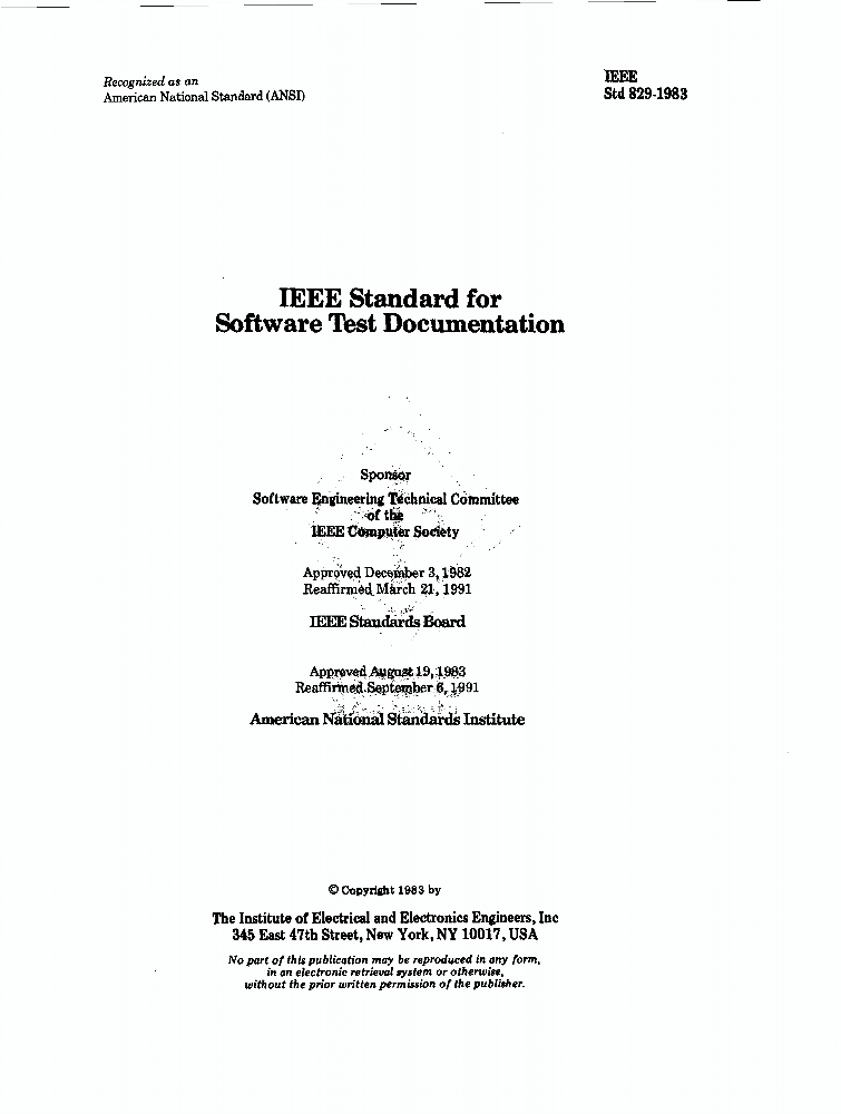 829 1983 Ieee Standard For Software Test Documentation Ieee Standard