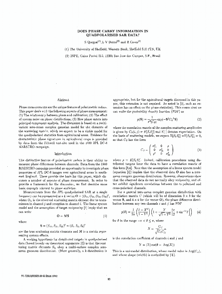 does phase carry information in quadpolarised sar data ieee conference publication