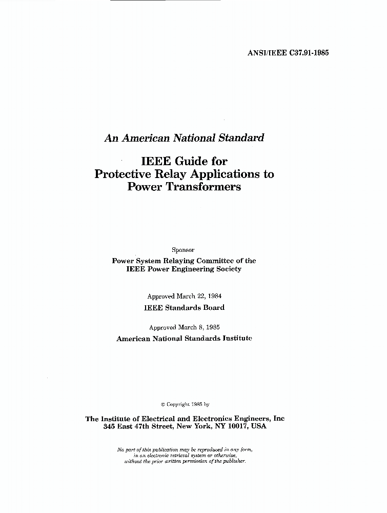 C37 91-1985 - IEEE Guide for Protective Relay Applications