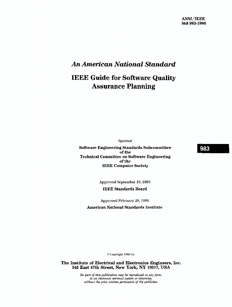 983 1986 ieee guide for software quality assurance planning ieee standard