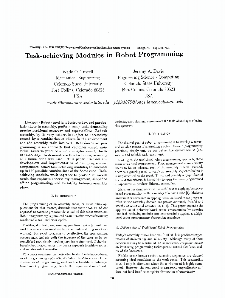 Task-achieving Modules In Robot Programming - IEEE
