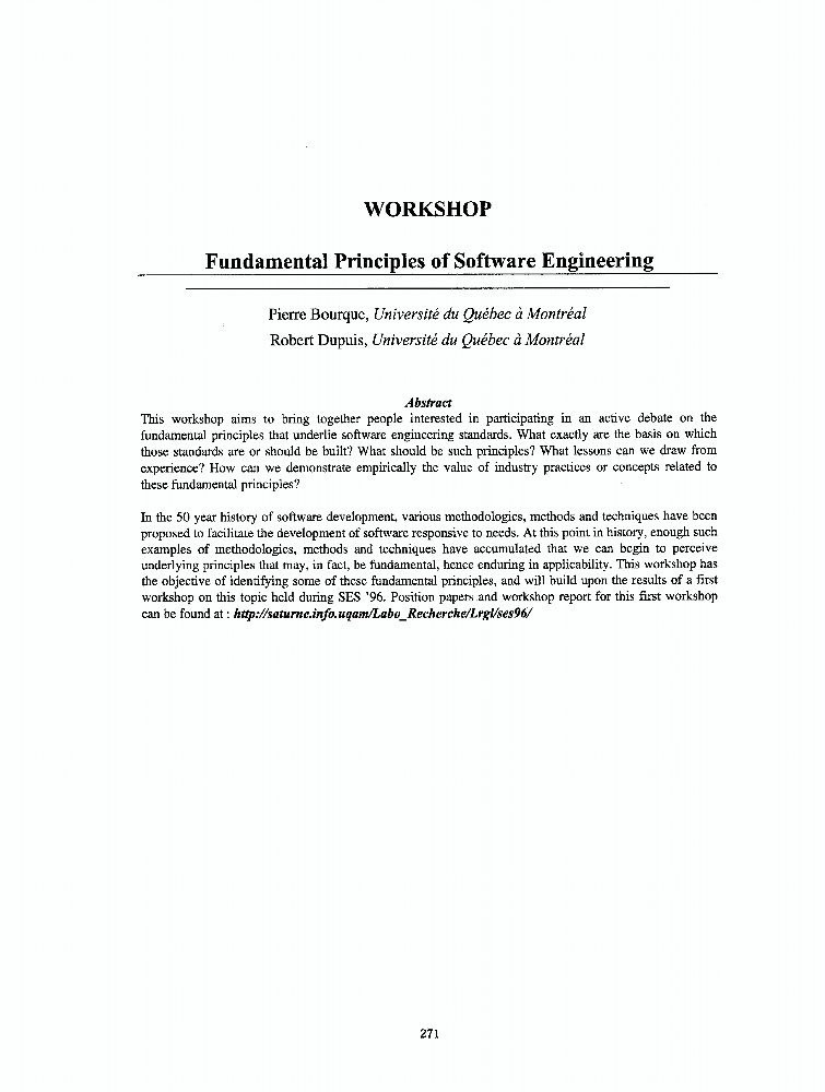 Fundamental Principles Of Software Engineering - IEEE Conference