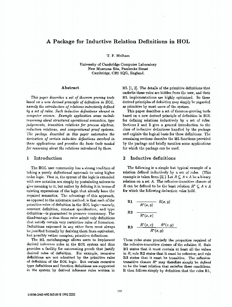 A package for inductive relation definitions in hol ieee for Ieee definition