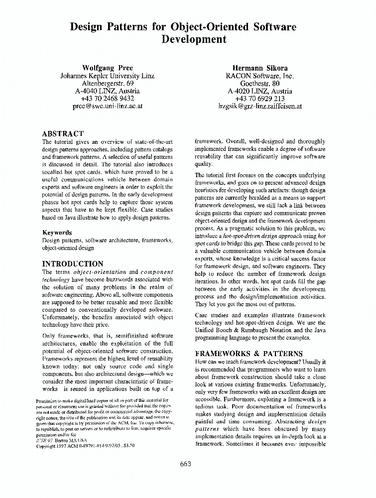 Design patterns for object oriented software development ieee design patterns for object oriented software development ieee conference publication malvernweather Choice Image