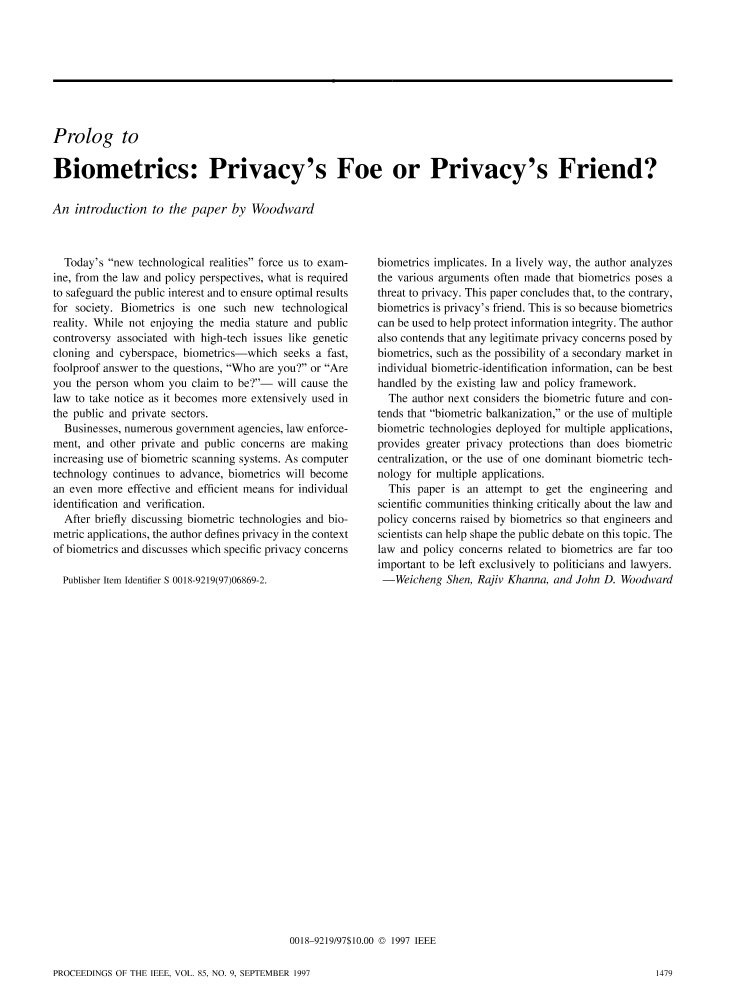 Ieee xplore proceedings of the ieee volume 85 issue 9 prolog to biometrics privacys foe or privacys friend greentooth