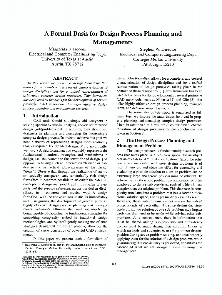 A Formal Basis For Design Process Planning And Management - IEEE