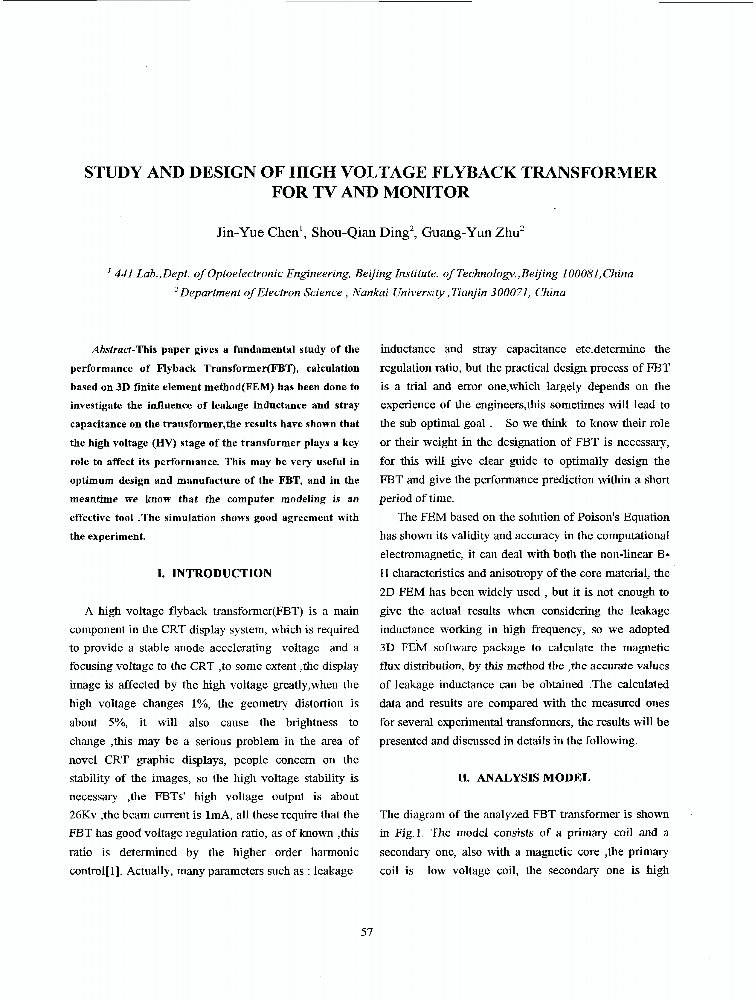Study And Design Of High Voltage Flyback Transformer For TV