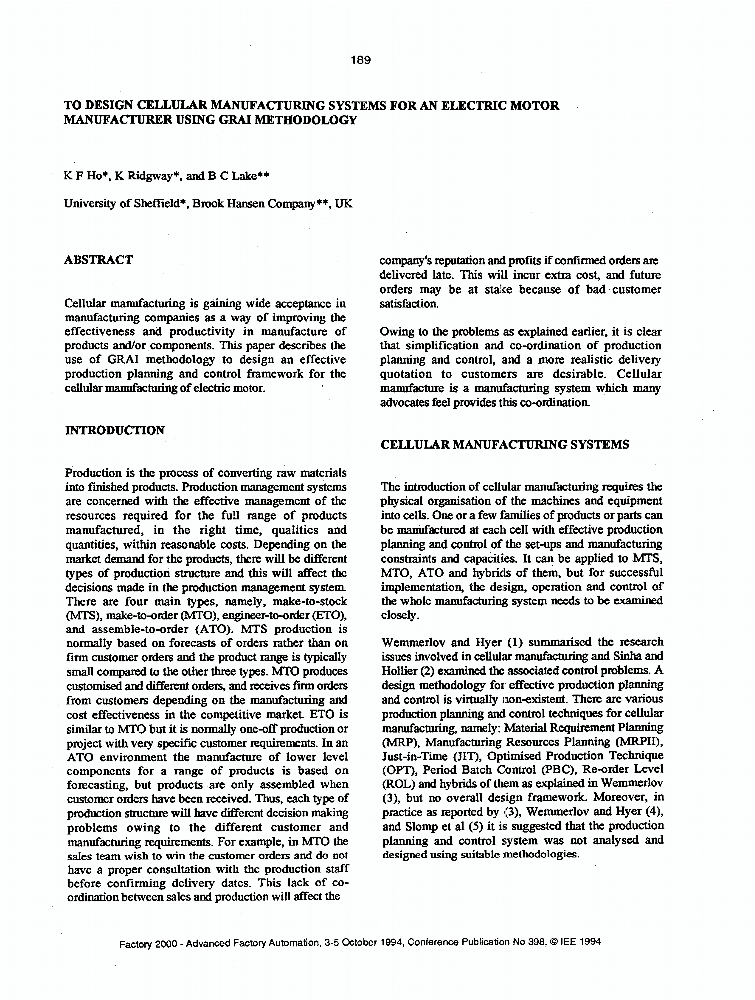 To Design Cellular Manufacturing Systems For An Electric Motor Manufacturer Using Grai Methodology Iet Conference Publication