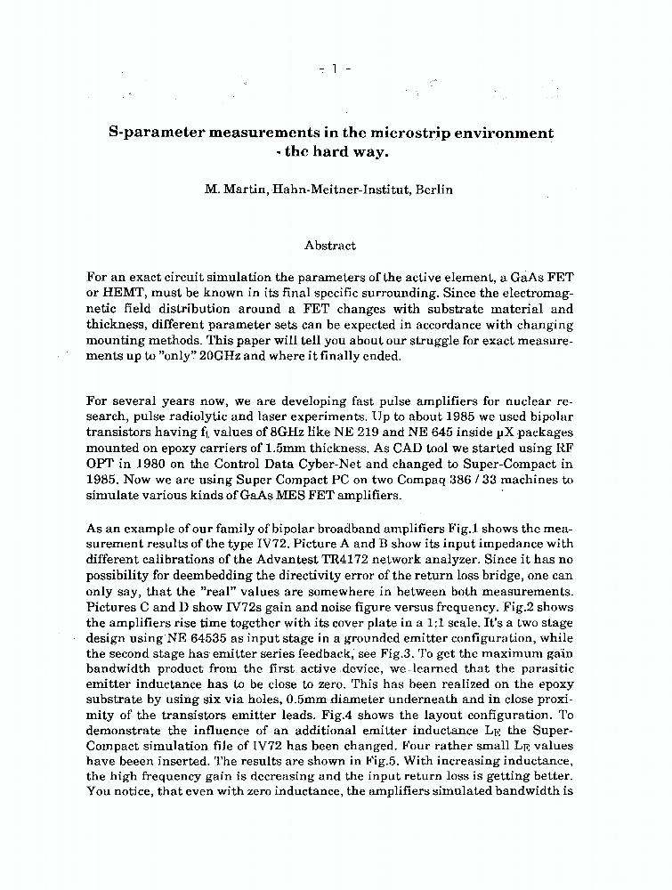 S-parameter Measurements In The Microstrip Environment - The