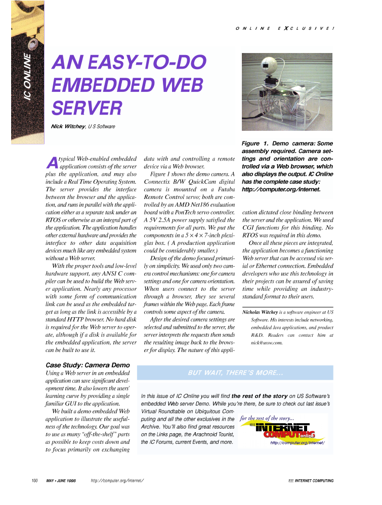 An Easy-To-Do Embedded Web Server [IC Online] - IEEE Journals & Magazine