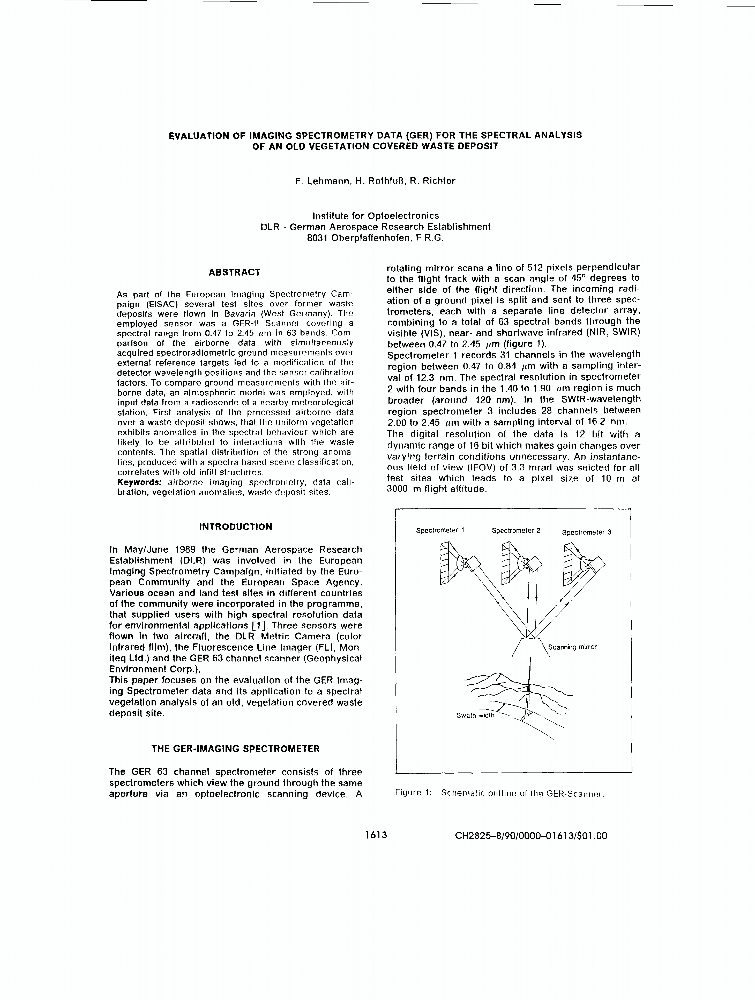 Evaluation Of Imaging Spectrometry Data (GER) For The Spectral