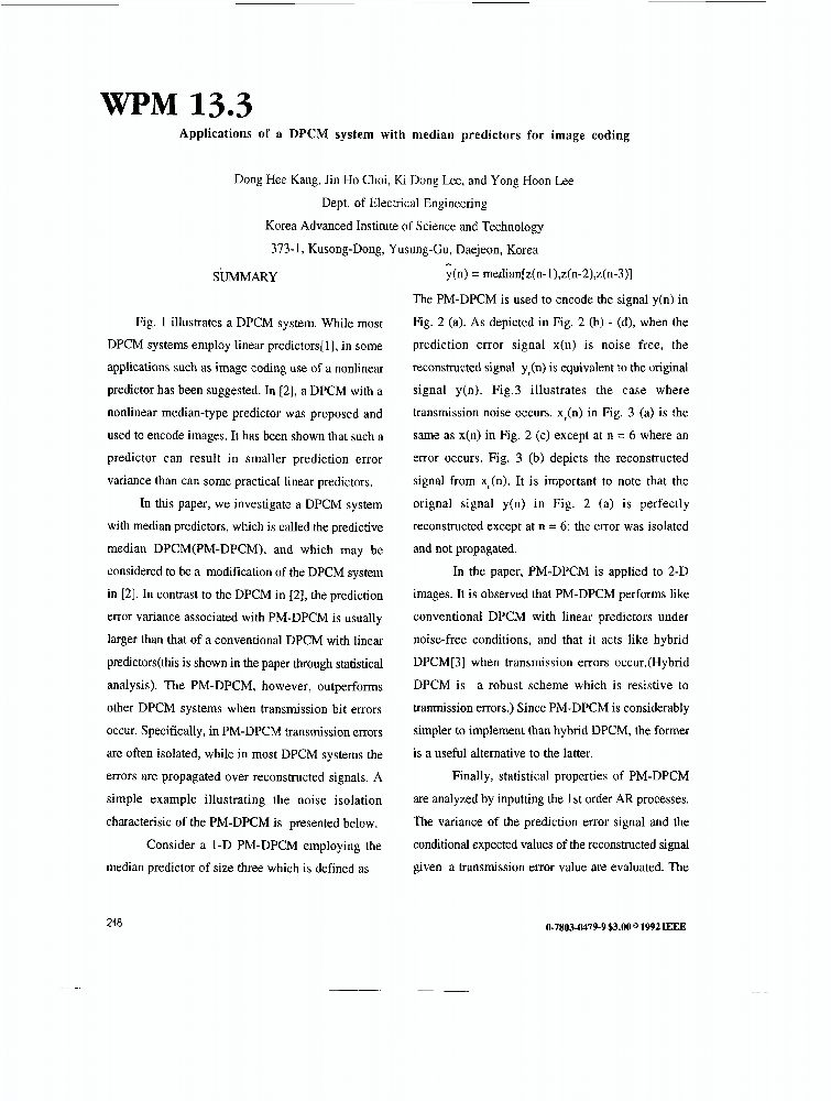 Applications Of A DPCM System With Median Predictors For