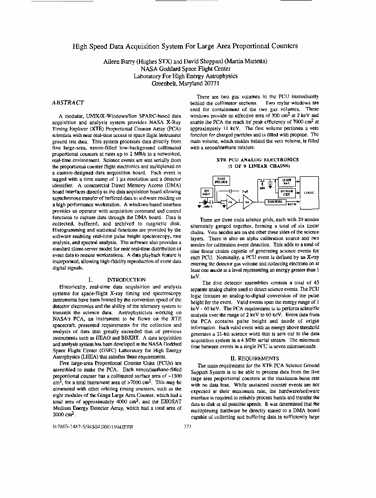 Data Acquisition Articles : High speed data acquisition system for large area