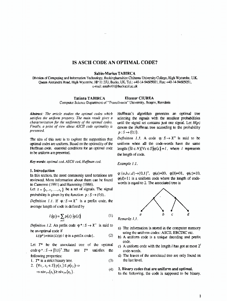 Is ASCII Code An Optimal Code? - IEEE Conference Publication