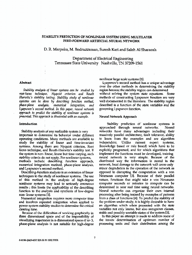 Stability Prediction of Nonlinear System Using Multilayer