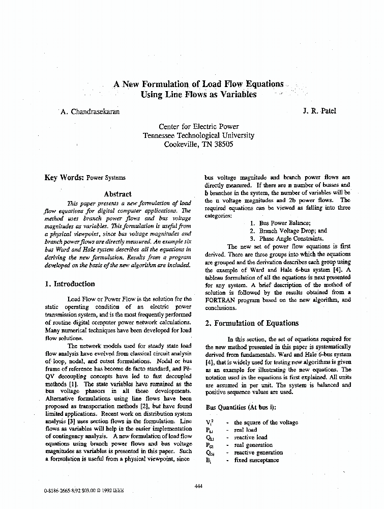 A New Formulation of Load Flow Equations Using Line Flows as