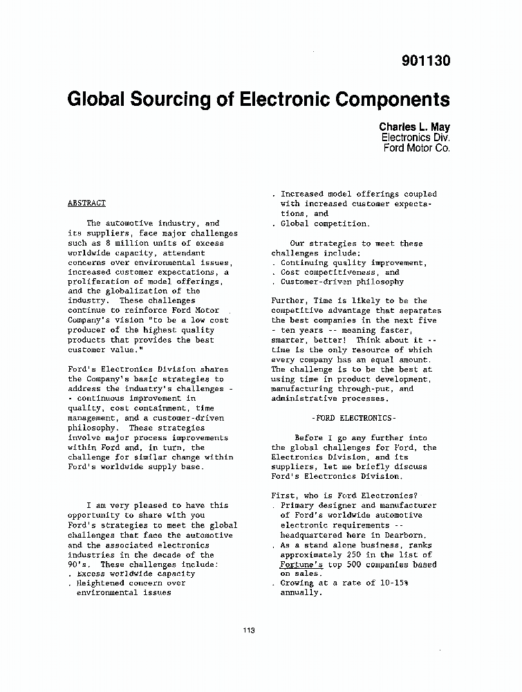 Global Sourcing of Electronic Components - IEEE Conference