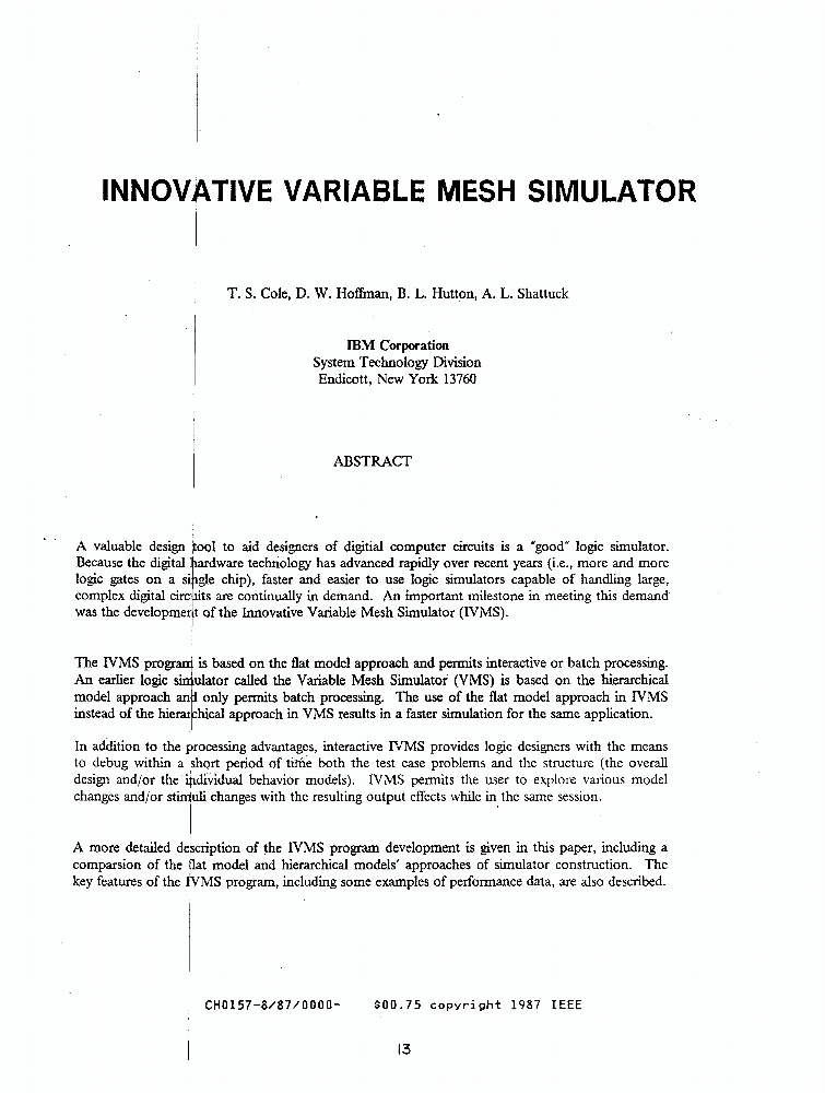 Innovative Variable Mesh Simulator - IEEE Conference Publication