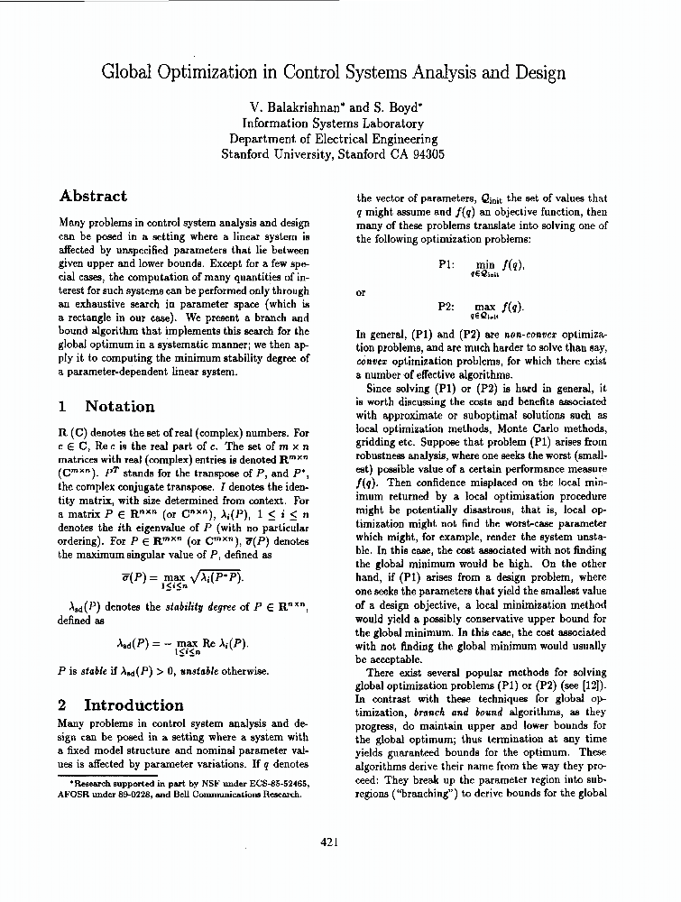 Global Optimization In Control Systems Analysis Ieee Conference Publication