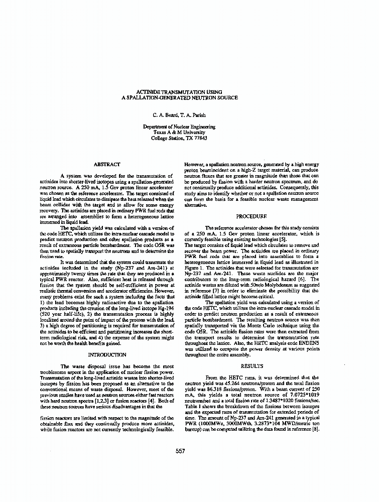 Actinide Transmuration Using A Spallationgenerated Neutron Source  Actinide Transmuration Using A Spallationgenerated Neutron Source  Ieee  Conference Publication