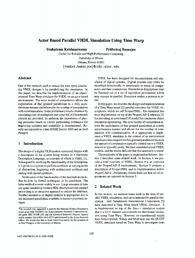 Actor Based Parallel VHDL Simulation Using Time Warp - IEEE