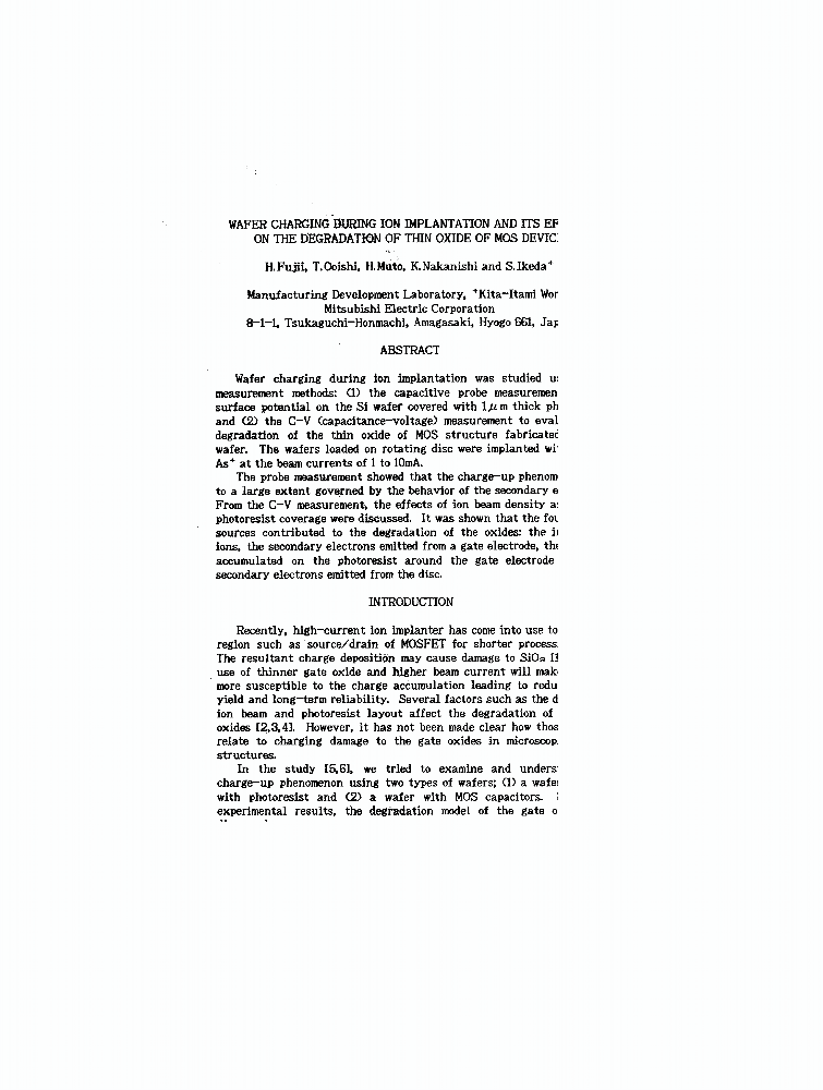 wafer charging during ion implantation and its effect on the