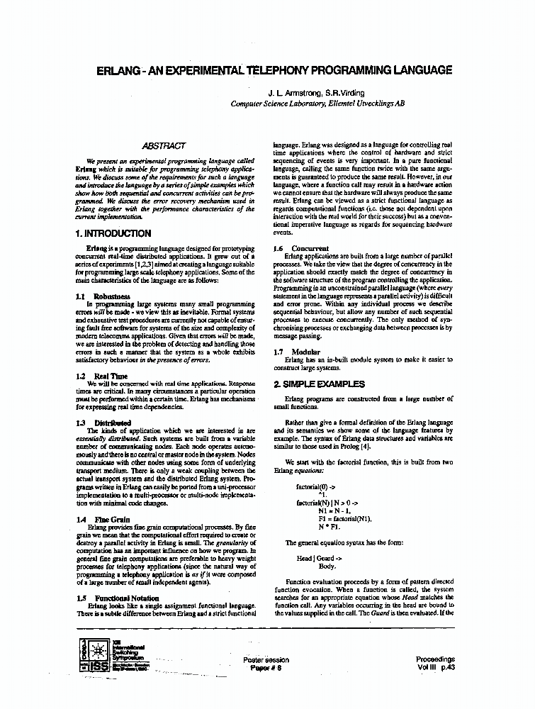 Erlang An Experimental Telephony Programming Language Ieee
