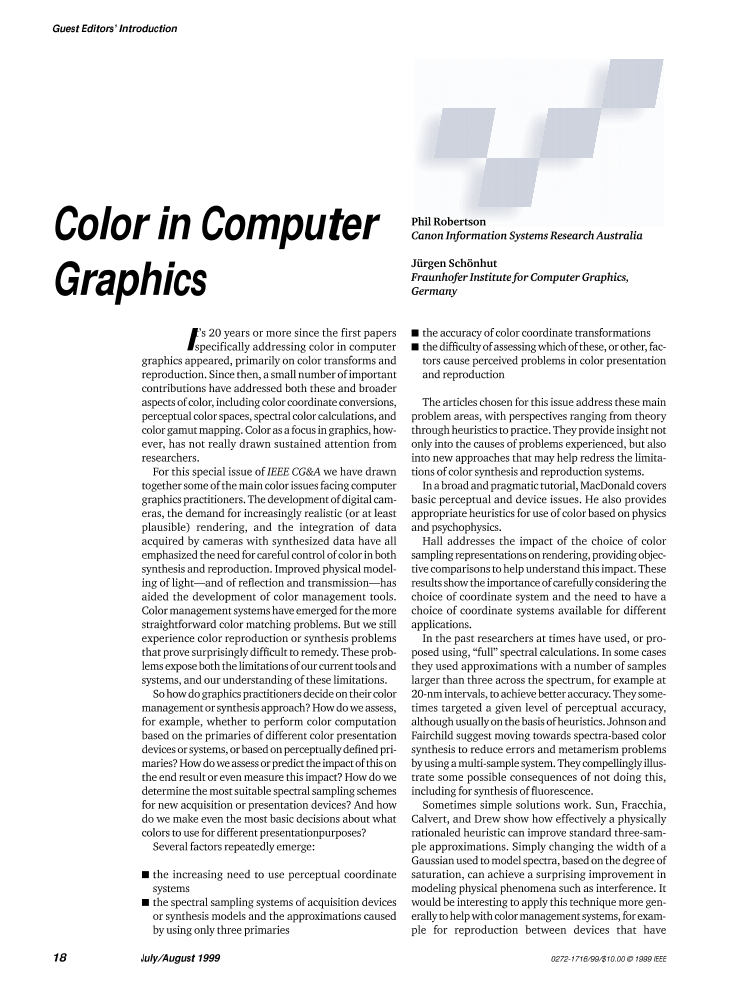 Color in Computer Graphics - IEEE Journals & Magazine