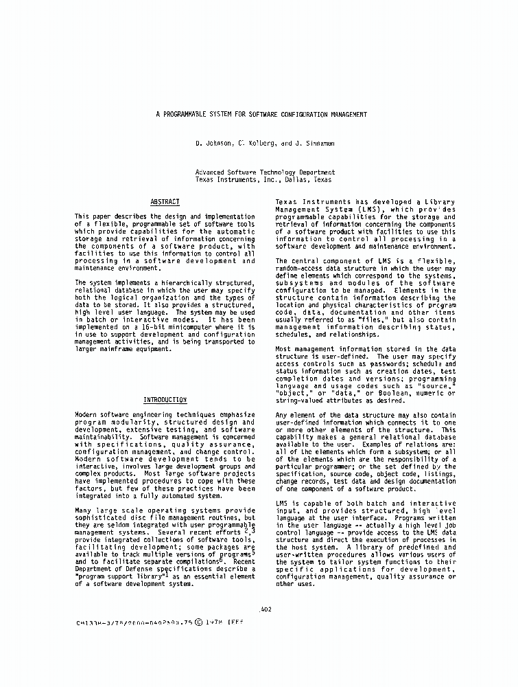A Programmable System For Software Configuration Management Ieee Conference Publication