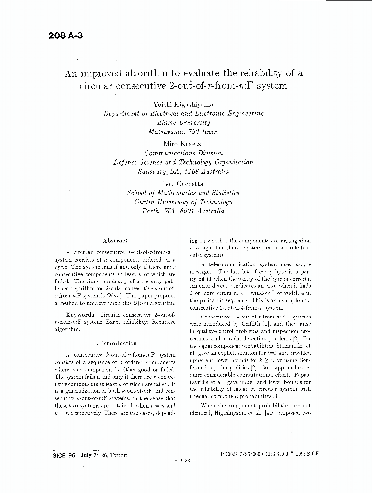 An Improved Algorithm To Evaluate The Reliability Of A Circular Consecutive 2 Out Of R From N F System Ieee Conference Publication