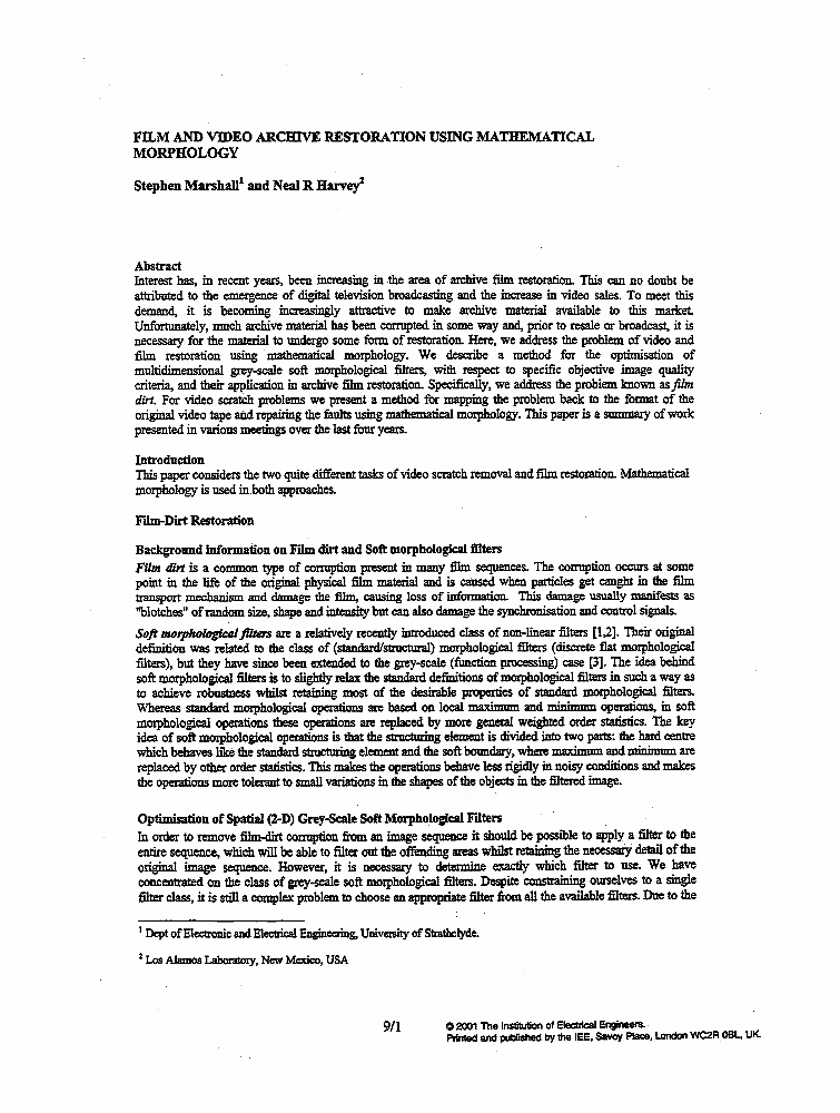Film And Vedeo Archive Restoration Using Mathematical Morphology Iet Conference Publication