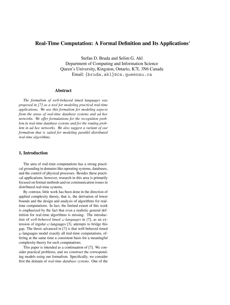 Real time computation a formal definition and its for Ieee definition