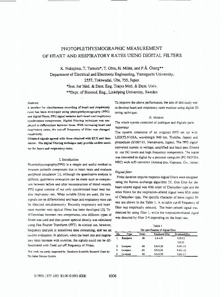 ieee xplore conference table of contents photoplethysmographic measurement of heart and respiratory rates using digital filters