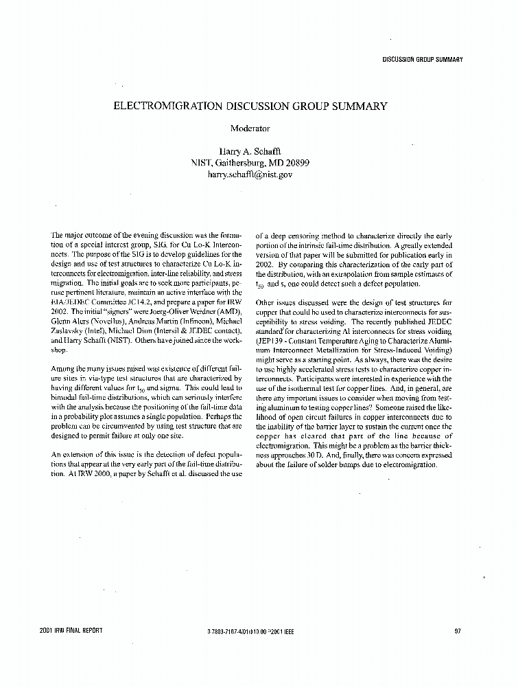 Electromigration discussion group summary - IEEE Conference