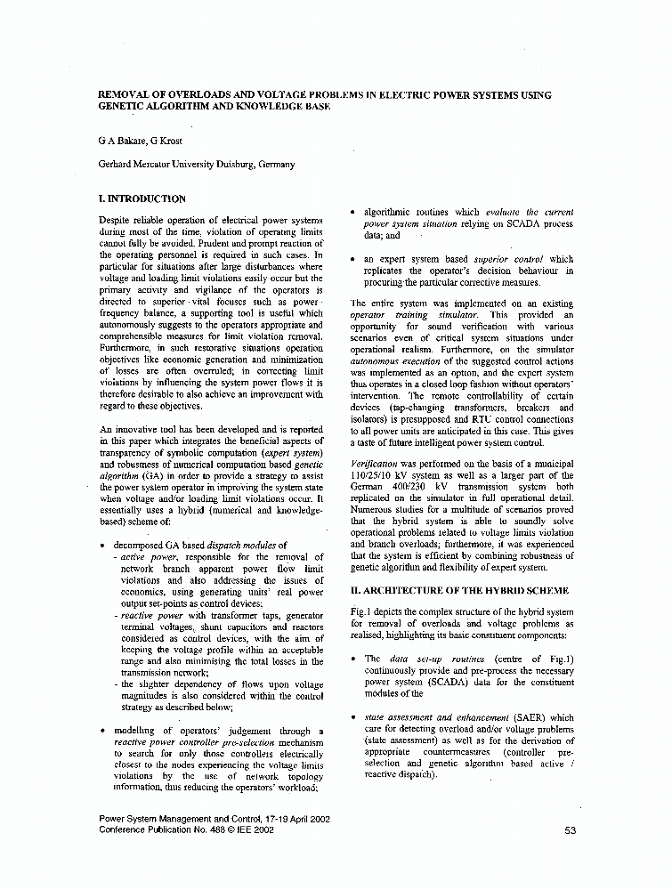Removal of overloads and voltage problems in electric power systems