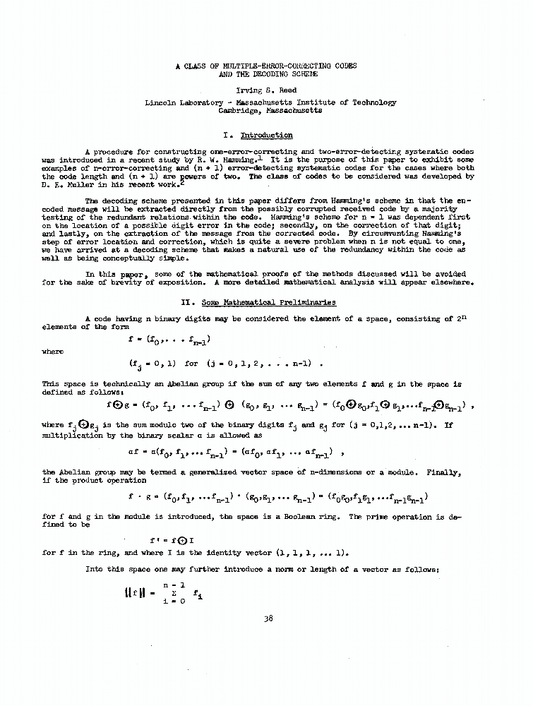 A class of multiple-error-correcting codes and the decoding