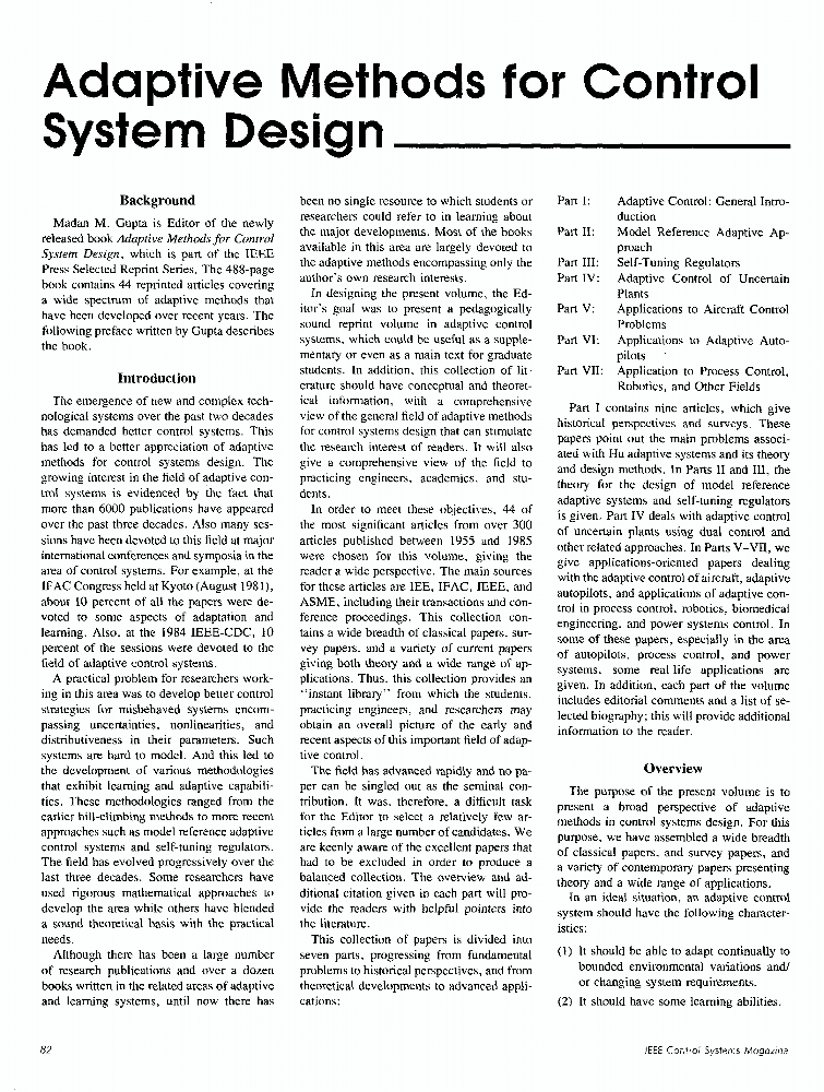 Adaptive Methods For Control System Design Ieee Journals Magazine