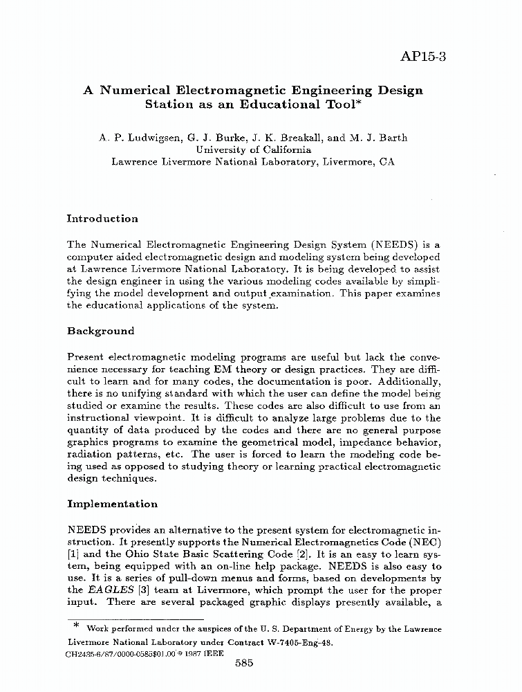 A numerical electromagnetic engineering design station as an