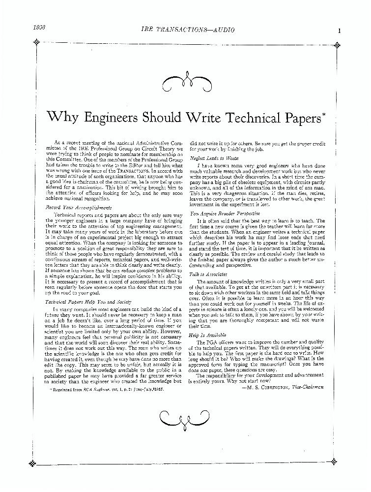 Why Engineers Should Write Technical Papers Ieee Journals Magazine