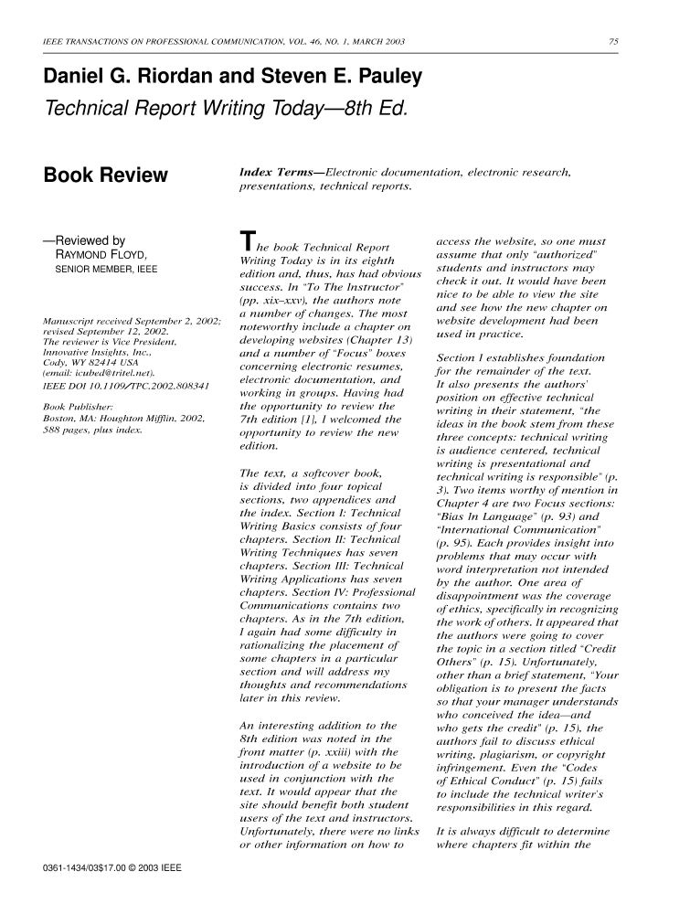 Technical Report Writing Today - 8th ed.  Book Review  - IEEE Journals    Magazine 6dfa5d433c3