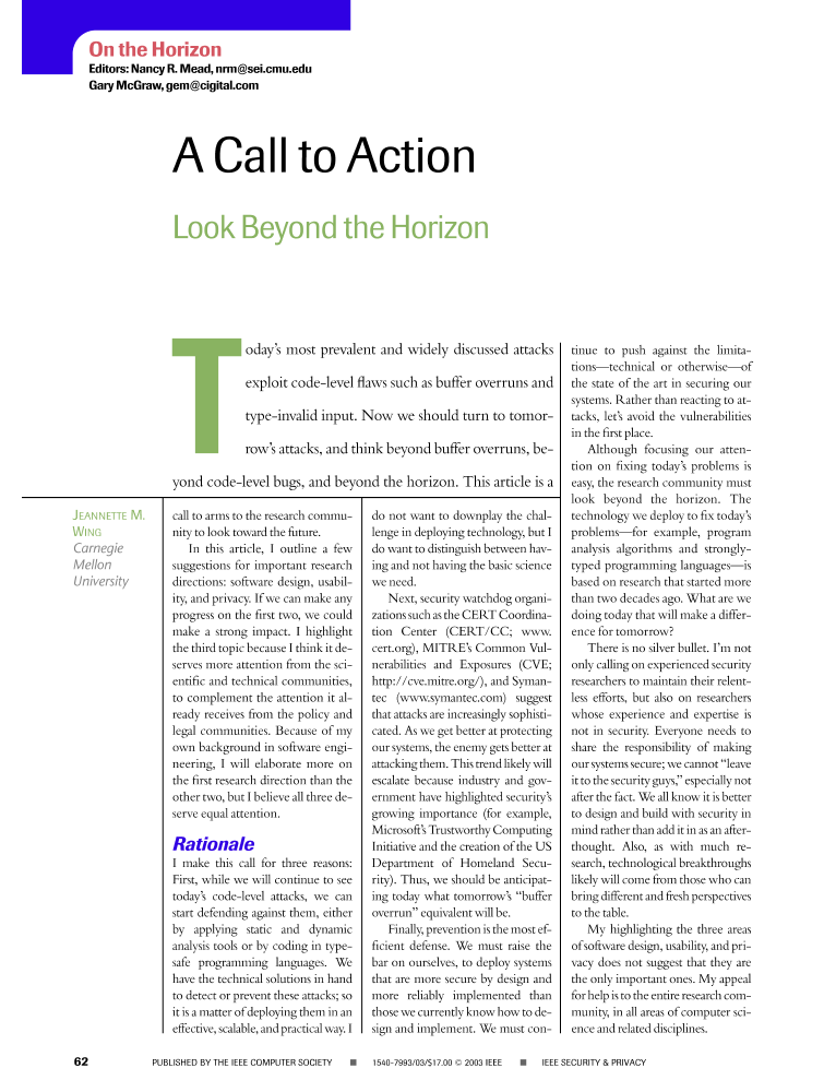Ieee xplore ieee security privacy volume 5 issue 4 a call to action look beyond the horizon malvernweather Image collections