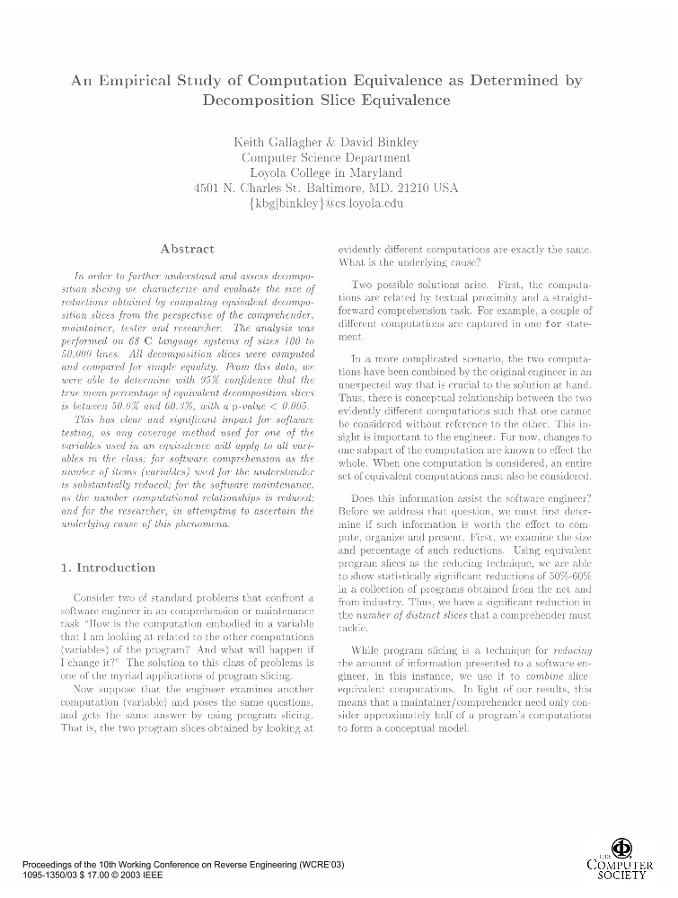 An Empirical Study Of Computation Equivalence As Determined By