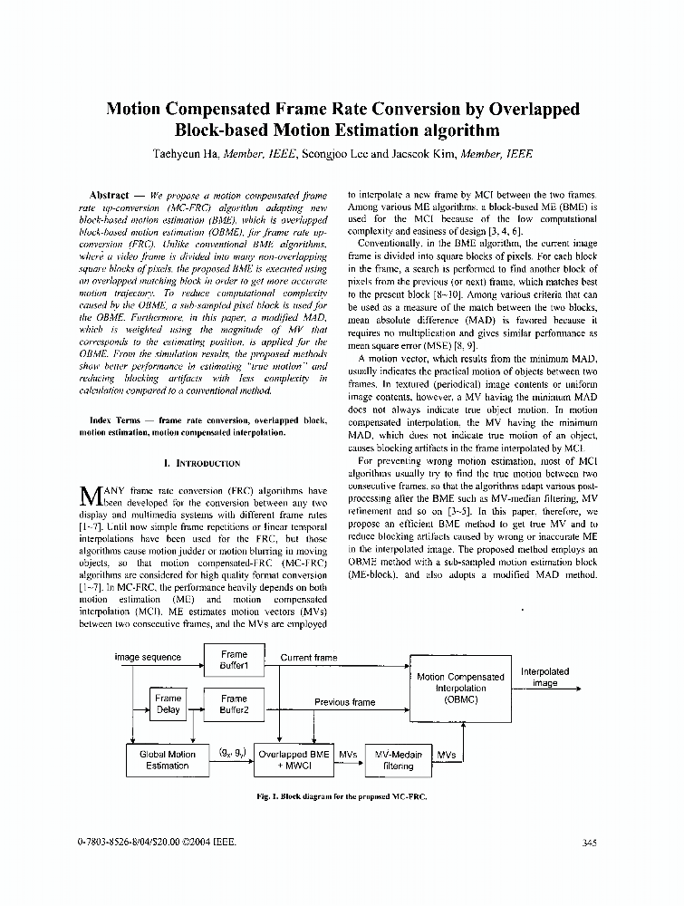 Motion compensated frame rate conversion by overlapped block-based ...