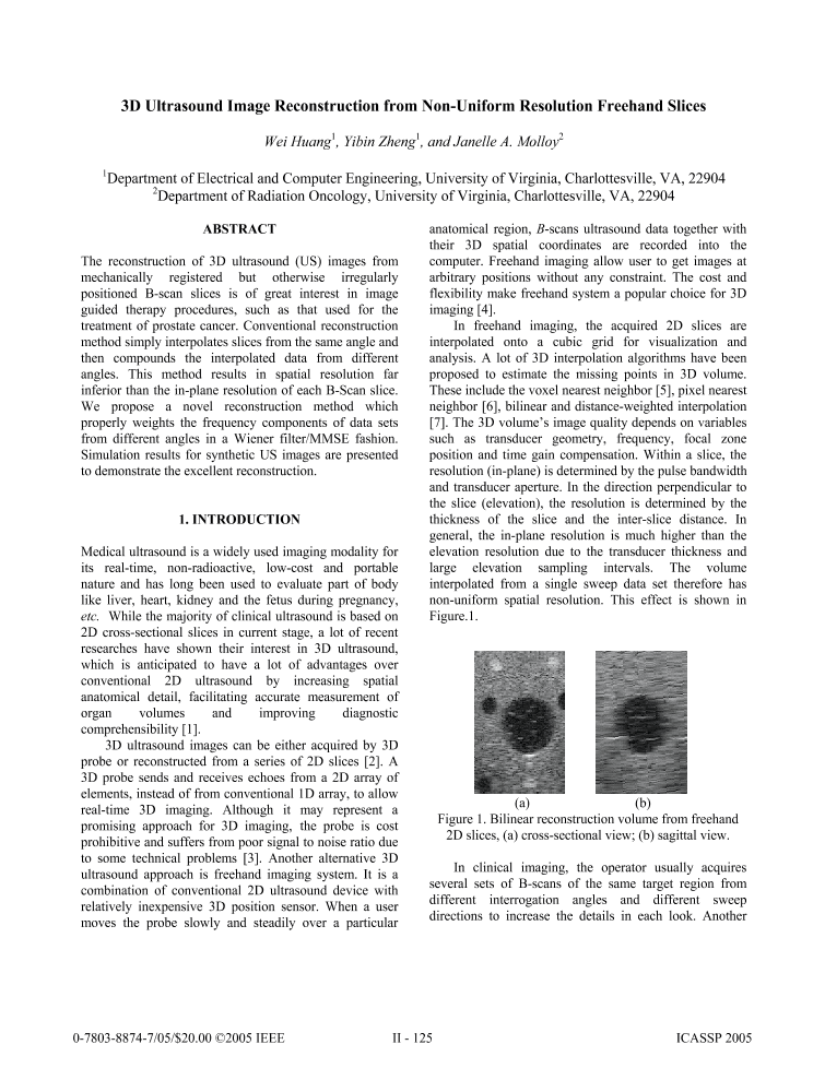 3D ultrasound image reconstruction from non-uniform resolution