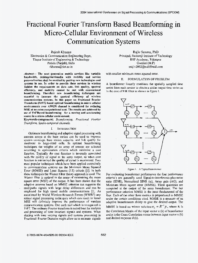 Fractional Fourier transform based beamforming in micro