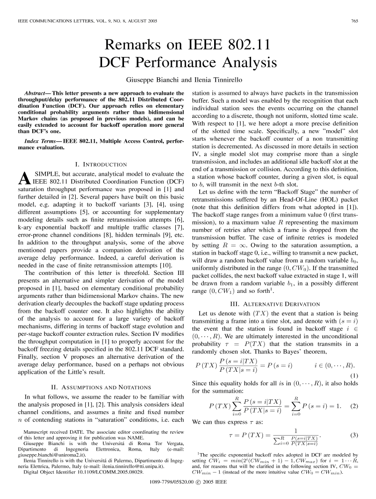 Remarks on IEEE 802 11 DCF performance analysis - IEEE